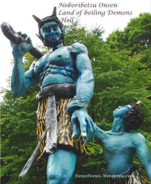 Enormous blue demons welcome you in Oyako kisou, Noboribetsu Onsen, Hokkaido